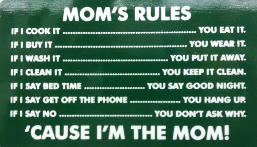 Mom's Rules. You obey it