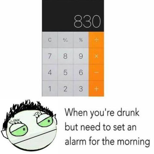 Alarm drunken condition