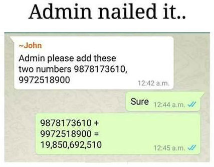whatsapp number addition