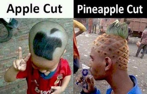 Different hair cuts - Apple and Pineapple